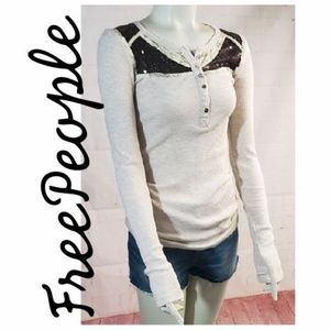 FREE PEOPLE VINTAGE SEQUIN WAFFLE THERMO S/P